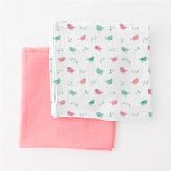 Summer Infant -56196 Set 2 paturici de muselina roz/imprimeu pasari