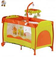 Patut pliant cu 2 nivele si mini-carusel Sleeper Deluxe orange- BabyGo