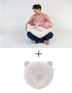 PACHET PROMO Perna gravide 3 in 1 BEBEDECO SOMN USOR + Perna bebe pt formarea capului bebelusului bej
