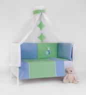 Lenjerie patut bebe 3 piese BEBEDECO IEPURASUL SOMNOROS bleu verde cu pilota-cod LB14P