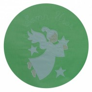 Lenjerie patut bebe BEBEDECO 5 piese cu broderie SOMN USOR verde alb - cod LB5P13