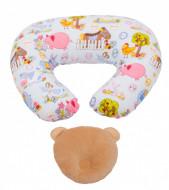 PACHET PROMO Perna pentru alaptat Ferma animalelor + Perna pt formarea capului bebelsului bej