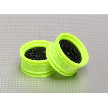 Set jante cu spite, offset 3mm, culoare negru-verde pentru automodele drift