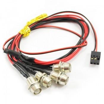 Lumini cu LED-uri rosii cu suporti fixare pentru automodele(4 buc)