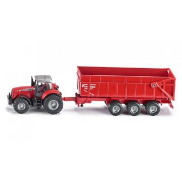 Macheta Tractor Agricol cu Remorca, SIKU, scara 1/87