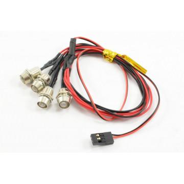 Lumini  LED Fastrax albe cu suport si alimentare din receptor, 4 buc
