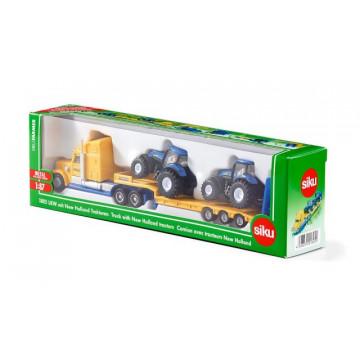 Macheta Camion cu tractoare New Holland, SIKU, scara 1:87