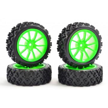 Roti automodele touring/rally 1/10, jante neon verde, Fastrax