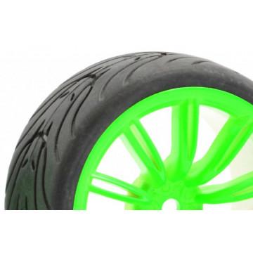Set 4 roti pentru automodele Touring 1/10 - Cauciucuri profil in V, jante cu spite Verde Neon