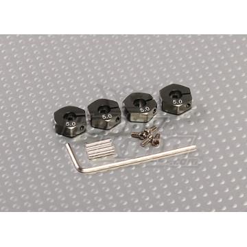 Adaptoare gunmetal pentru jante cu hex de 12mm, cu suruburi de fixare- 5 mm latime