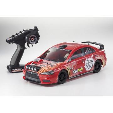 Automodel electric Rally 1/10 KYOSHO EP FAZER VE Mitsubishi Lancer Evo-X KX4, culoare rosie