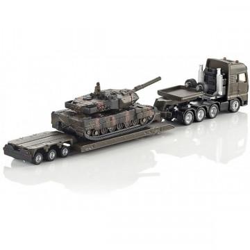 Macheta camion MAN cu trailer si tanc Leopard, SIKU, scara 1:87