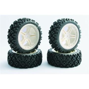 Set roti pentru automodele on-road -Anvelope Rally Block montate pe jante albe cu spite-set 4 buc