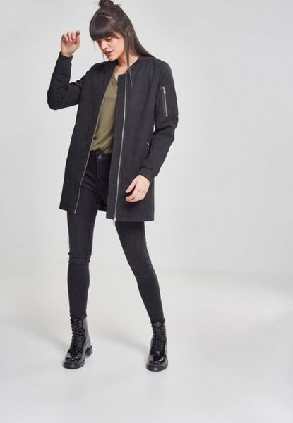 Ladies Peached Long Bomber Jacket