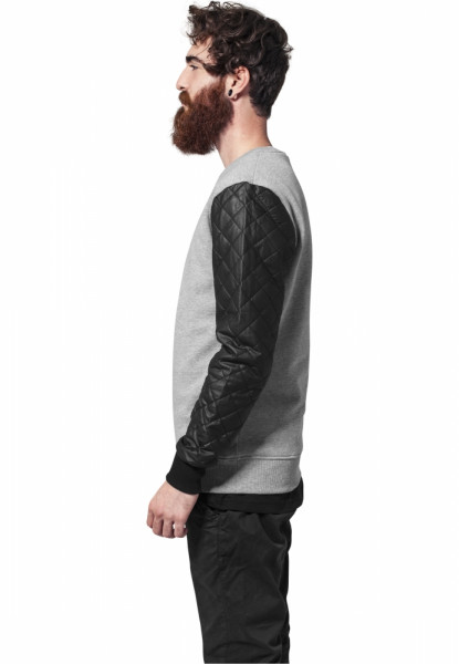 Quilt Leather Imitation Sleeve Crewneck