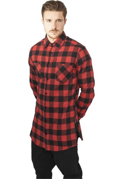 Side-Zip Long Checked Flanell Shirt