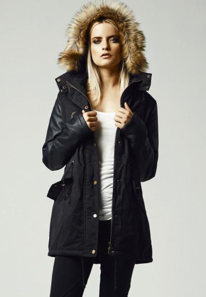 Ladies Leather Imitation Sleeve Parka