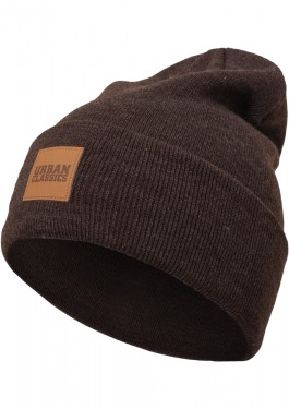 LEATHERPATCH LONG BEANIE HEATHERBROWN ONE SIZE