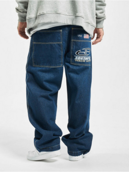SOUTHPOLE LOGO BRANDED BAGGY PANTS BLACK WASHED