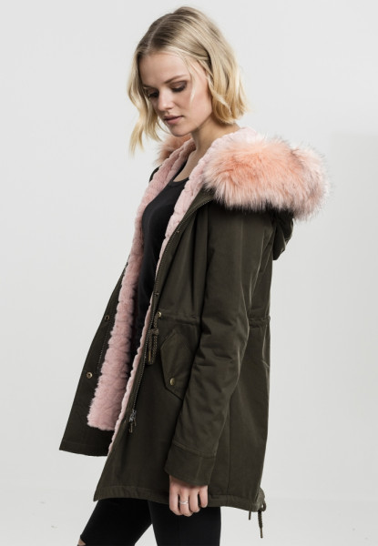 Ladies Peached Teddy Lined Parka