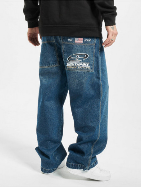 Southpole Logo Branded Baggy Jeans Mid Blue