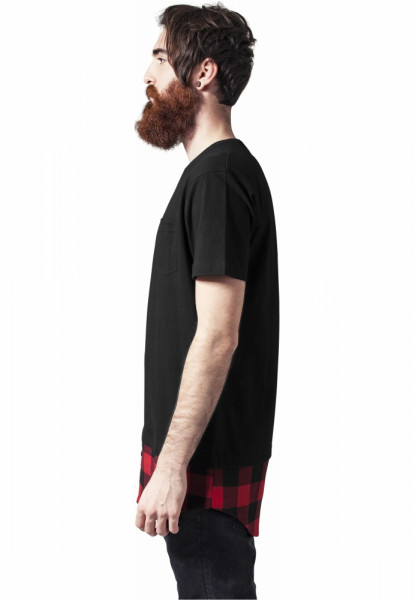 Long Shaped Flanell Bottom Pocket Tee
