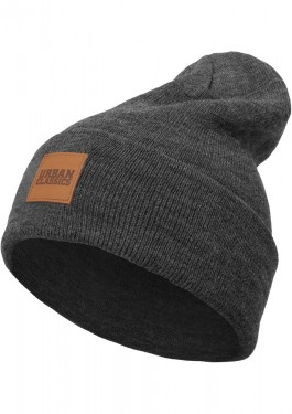 Poze LEATHERPATCH LONG BEANIE CHARCOAL ONE SIZE