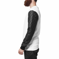 Quilt Leather Imitation Sleeve Crewneck