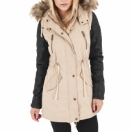 Ladies Leather Imitation Sleeve Parka