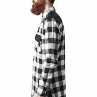 Side Zip Leather Shoulder Flanell Shirt