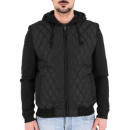 Hooded Diamond Quilt Nylon Jacket