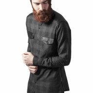 Side Zip Leather Shoulder Flanell Shirt