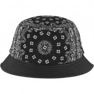 Bandana Leather Imitation Brim Bucket Hat