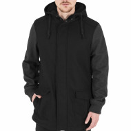 Contrast Hooded Wool Jacket