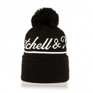 Mitchell & Ness Golden Beanie Own Brand black Jacquard Script Bobble Knit