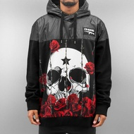 Dangerous DNGRS Overwear / Hoodie Skull Rose in black*