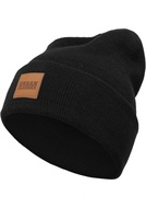 LEATHERPATCH LONG BEANIE BLACK ONE SIZE