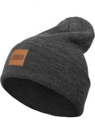 LEATHERPATCH LONG BEANIE CHARCOAL ONE SIZE