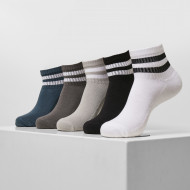 Sporty Half Cuff Logo Socks 5-Pack