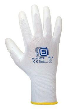 Mănuși de lucru Saratoga albe cu palma de poliuretan alb - marimea 7, 8, 9 si 10
