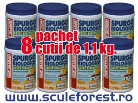 Pachet 8 buc - Bioactivator biologic SPURGO BIOLOGICO SARATOGA  pentru curatat fose septice - 1.1 kg
