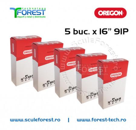 """Pachet 5 buc. - Lant 16"""" (40cm), 3/8, 28 dinţi ,pas 3/8,canal 1.3mm Oregon 91P"""