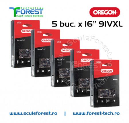 "Pachet 5 lanturi drujba Oregon 16""(40cm), 28 dinti, pas 3/8, canal 1.3mm 91VXL"
