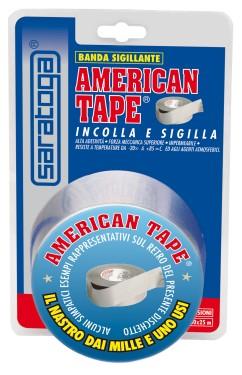 Banda adeziva puternica AMERICAN TAPE in blister 25m x 50mm