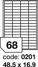 Etichete autoadezive 68/A4, 100 coli/top, 48.5 x 16.9 mm RAYFILM