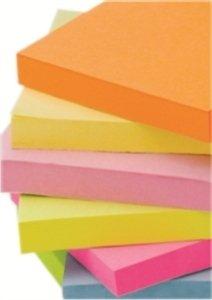 Notite adezive 76x76mm culoare roz neon