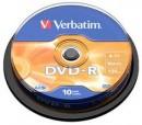 DVD-R Verbatim 16X 4.7Gb, 10buc/set, Matt Silver