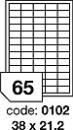 Etichete autoadezive 65/A4, 100 coli/top, 38 x21,2 mm RAYFILM