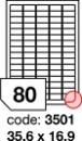 Etichete autoadezive 80/A4, 100 coli/top, 35,6 x 16,9 mm RAYFILM