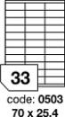 Etichete autoadezive 33/A4 100 coli/top 70 x 25.4 mm RAYFILM